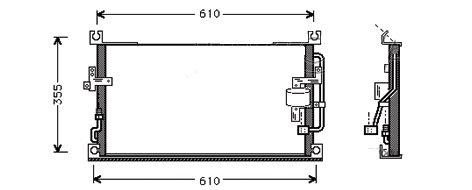 CONDENSEUR de Climatisation Entrée/ sortie côtés opposés  550mm x 330mm MCA-5M00