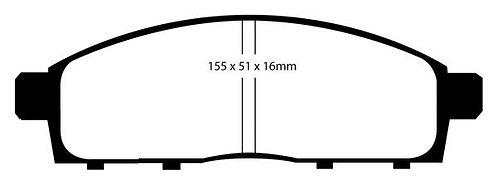 PLAQUETTES Avant EBC UltimaxL: 155mm - H 51mm - Ep: 15,5mmMFP-2