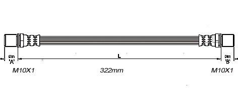 FLEXIBLE de FREINFemelle / Femelle - L: 352mm - AvantMBH-2254