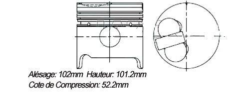 Pistons jeu de 4 (avec axes et clips sans segments) JKI-215