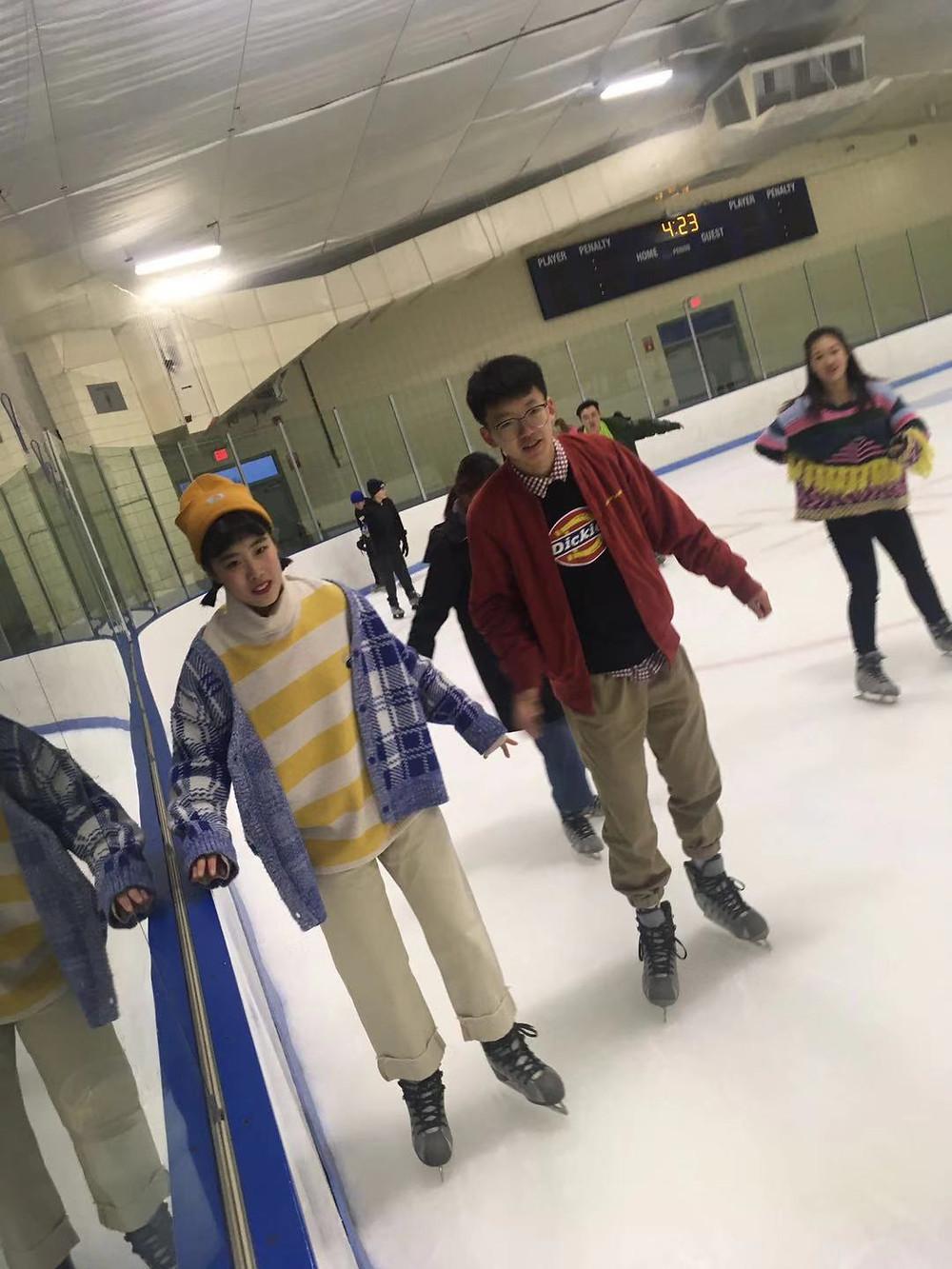 Students Zhou Zhou, April Jin Bu, and Emily Chen show off their skating skills!