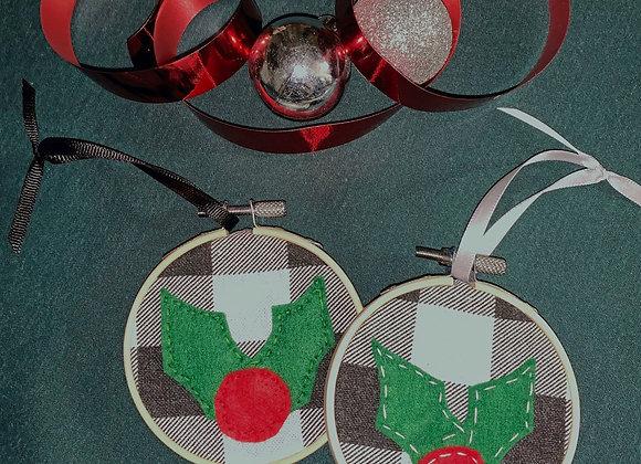 Buffalo check tree ornament--holly & berry