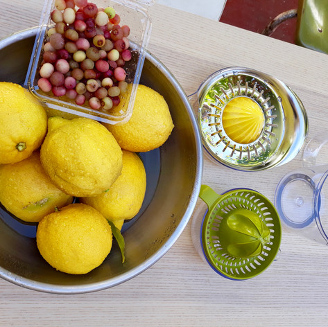 The children make thier own  lemonade with fresh lemons from our tree and add pinkberry blueberries.