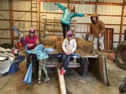 Volunteers working and having fun