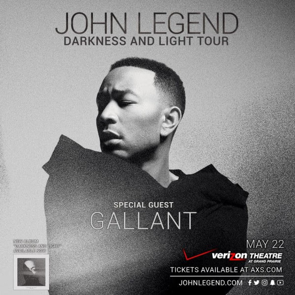 John Legend, Darkness & Light Tour with special guest Gallant, Mon, May 22, 2017 at Verizon Thea