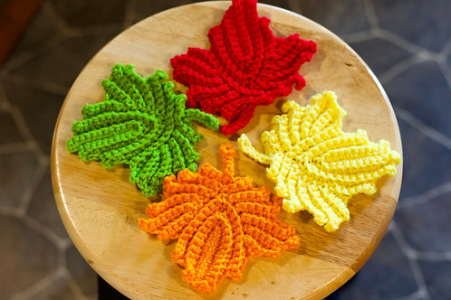 Crocheted leaf coasters (4 pack)