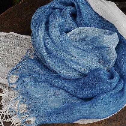 藍染めぼかしストール