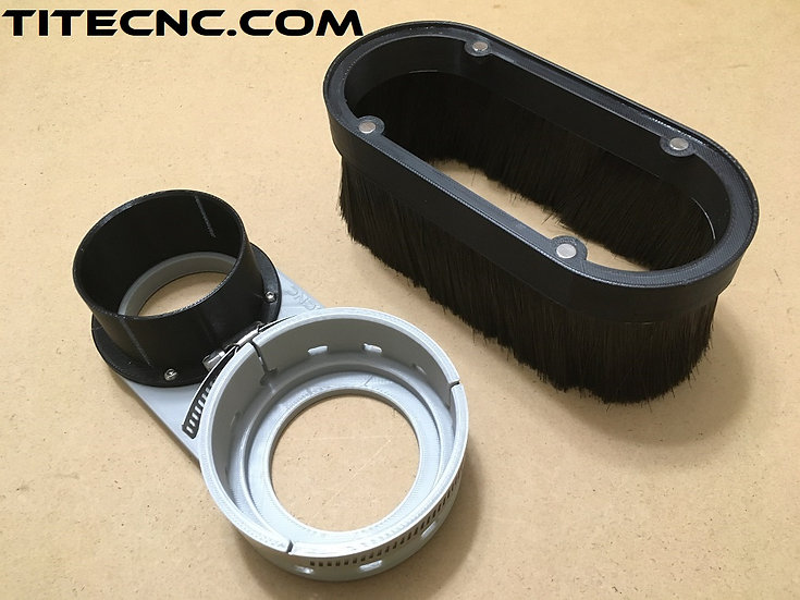 CNC Dust Shoe for 80mm ER20 Spindle - Custom size vacuum attachment
