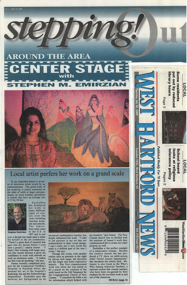 West Hartford Life Press Release - Local artist prefers her work on a grand scale