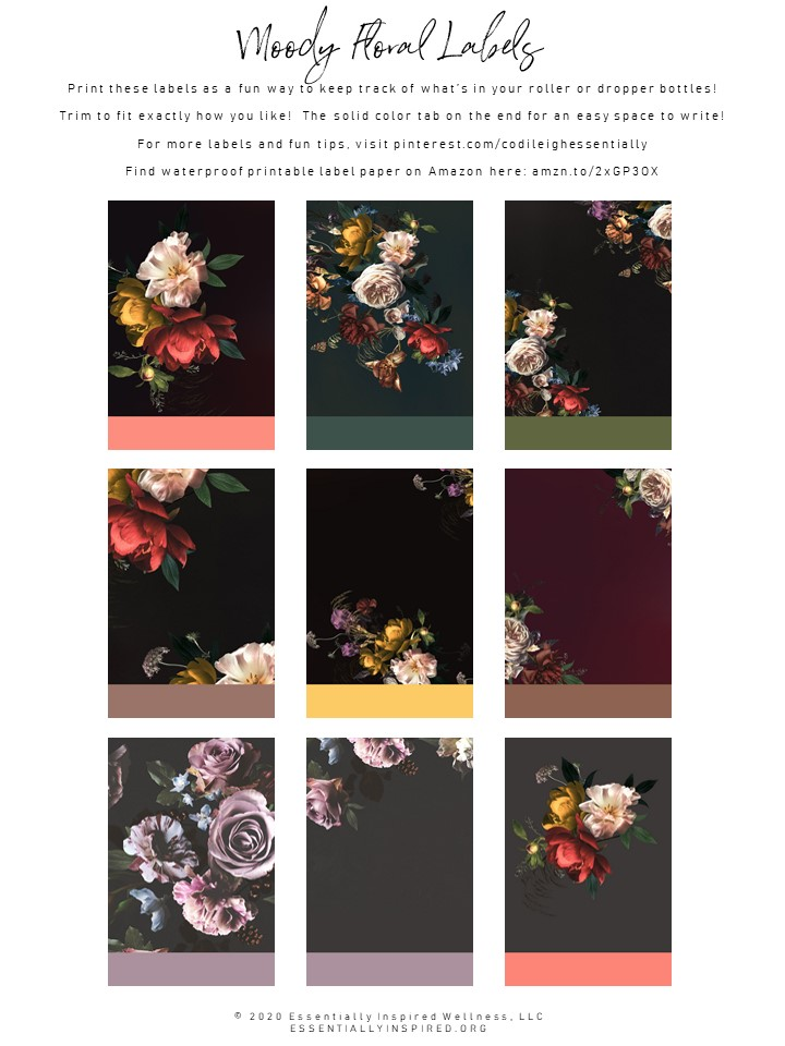 Moody Floral Labels