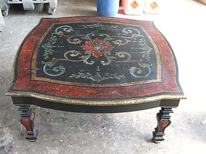 tavolo da salotto decorato, tavolo laccato, tavolo da salotto decorato