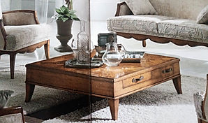 Tavolino da salotto grezzo con intarsio