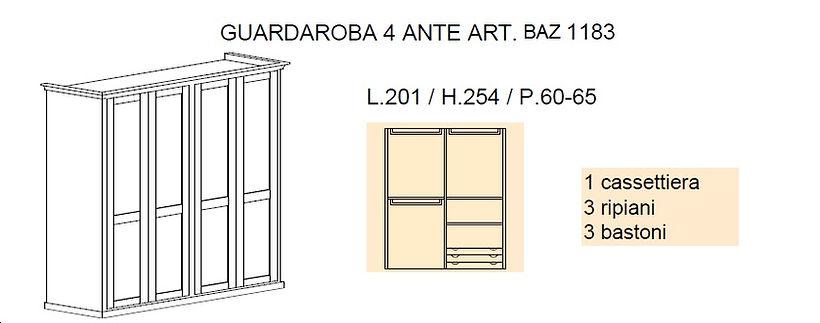 armadio 4 ante grezzo, armadio con cassettiera grezzo, armadi grezzi