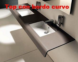 Top bagno con bordo curvo in corian, top bagno in corian su misura