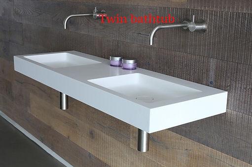 Doppia vasca su misura in corian, vasca doppia su misura in corian