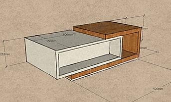 Tavolino moderno grezzo, tavolino grezzo, tavolino di design