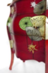Comò provenzale decorato, comò con decoro moderno, comò provenzale da collezione