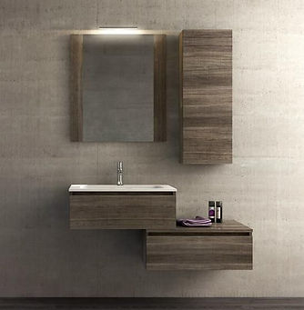 mobile bagno in listellare, bagno con top in corian