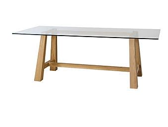 Tavolo moderno con piano in cristallo