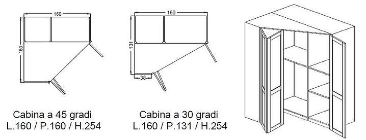 cabina armadio, cabine armadio 2 ante a battente, cabina armadio ad angolo