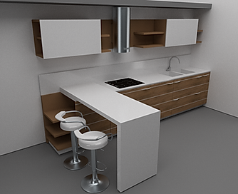 Cucina moderna in multistrato, con top in corian