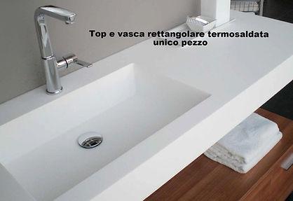 Top bagno con vasca in corian, top bagno in corian su misura