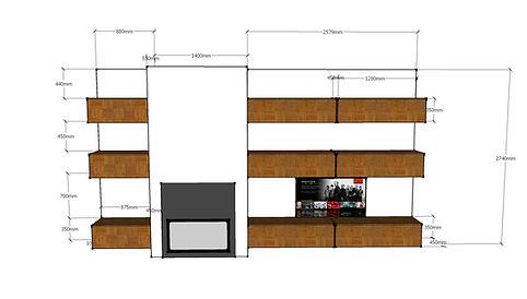 Progeto parete living su misura