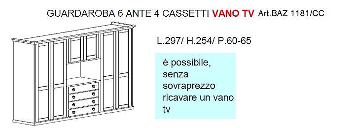 armadio con vano tiv grezzo, progettazione armadi, armadio in legno
