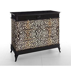 Comò bombato, comò decorato, comò con decoro leopardato