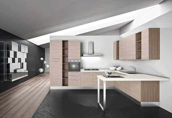 Cucina moderna, ante larice