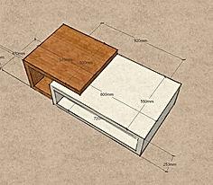 Tavolino grezzo moderno, tavolino grezzo da salotto