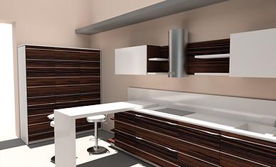 cucina su misura, cucina in legno, cucina zebrano, cucina in tech