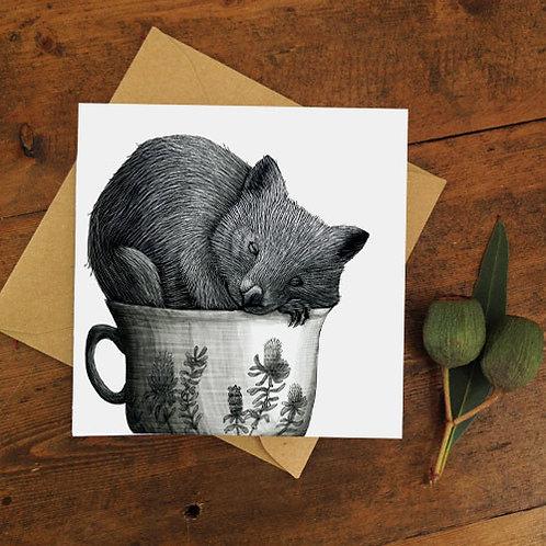 Notecard: Tea Cozy Wombat