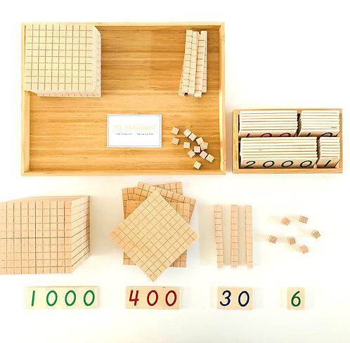 Wooden Base Ten Set 100 Cubes 10 Rods 10 Flats 1 Base