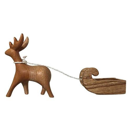 Wood Reindeer and Sleigh Set of 2