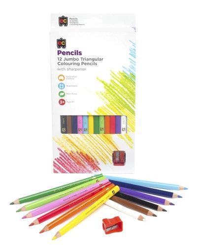 Jumbo Triangular Washable Pencils 12pc & Sharpener