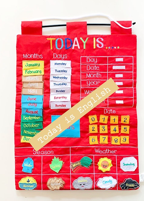 Today Is Fabric Wall Chart (Red)