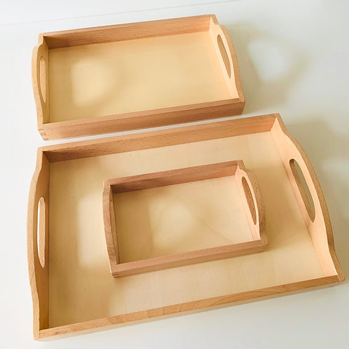 Wooden Montessori Tray Set of 3 With Handle — Natural