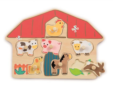 Wooden Farm Puzzle with Pegs