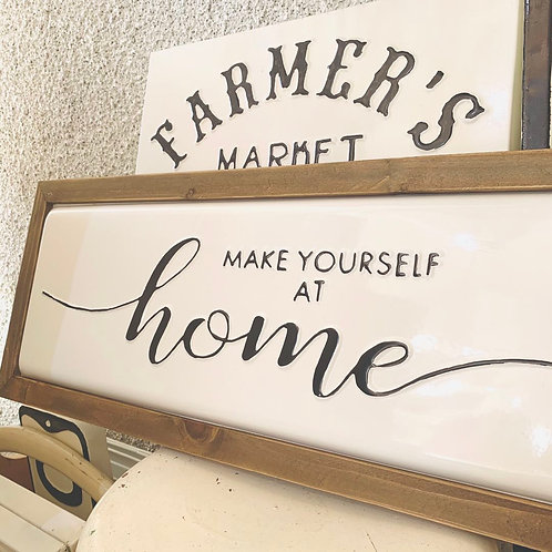 Enamel Wall Sign with Wooden Edges - Make Yourself At Home