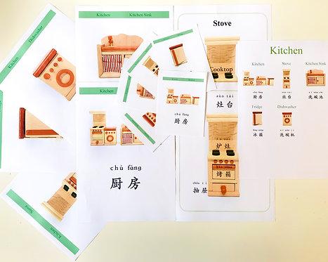 Kitchen & Dining Room Mandarin Nomenclature Cards - Mandarin Immersion Program