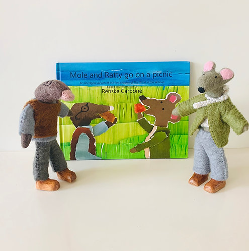Mole and Ratty go on a Picnic Book and 2 Dolls