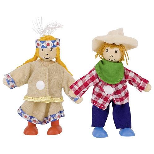 Goki Wooden Flexible Dress Up Doll - Birte & Ben