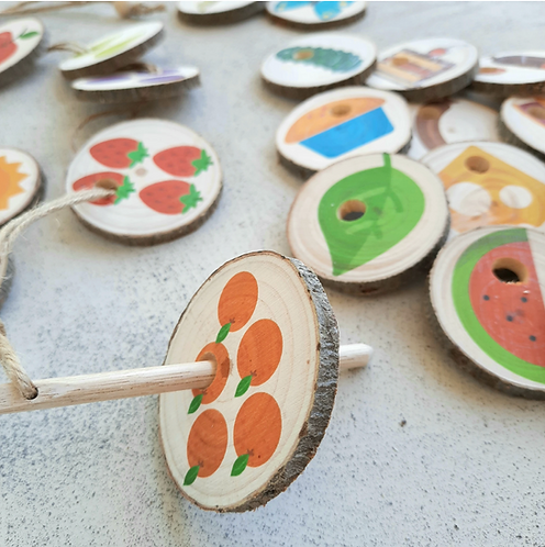 Hungry caterpillar threading tree slices - story tellers