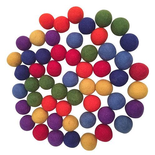 Papoose Medium Rainbow Felt Balls 49 Piece 3.5cm