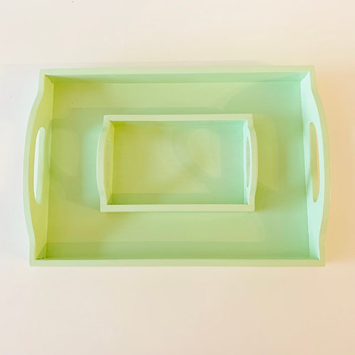 Wooden Montessori Tray Set of 2 With Handle —Mint