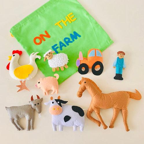 Felt Farm Animals 8pc with bag