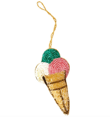 Fabric Ornament in Ice Cream Shape - Pearl and Gold Details