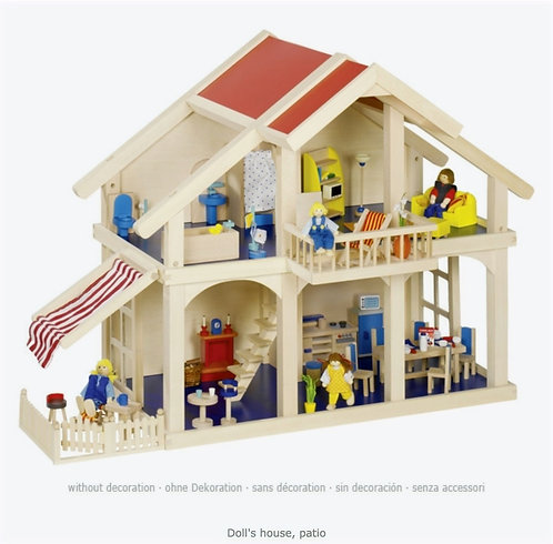 Goki Premium Wooden Open Doll's House with Patio