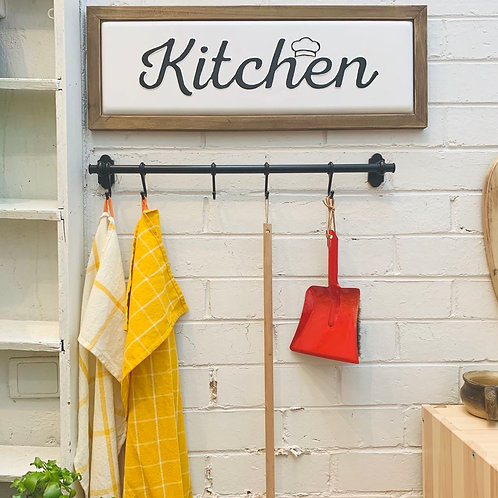 Enamel Wall Sign with Wooden Edges - Kitchen with a Chef Hat